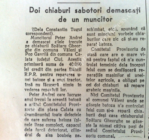 Titluri pe cât de puerile, pe atât de tragi-comice în Scînteia din 1950